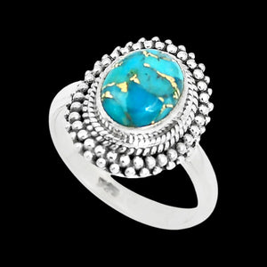 STERLING SILVER 4.2 CARAT BLUE COPPER TURQUOISE OVAL SURROUND RING