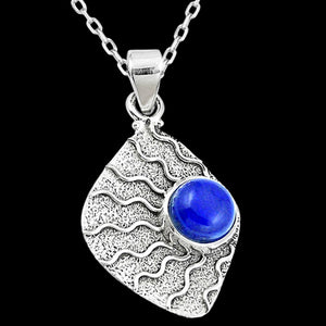 STERLING SILVER 4.8 CARAT LAPIS LAZULI WAVES NECKLACE
