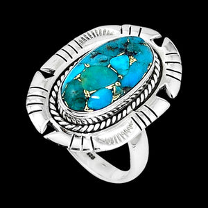 STERLING SILVER 6.8 CARAT BLUE COPPER TURQUOISE OVAL EDGE SURROUND RING