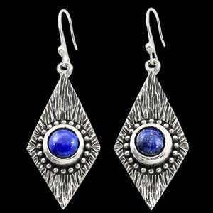 STERLING SILVER 3.7 CARAT LAPIS LAZULI DIAMOND DROP EARRINGS
