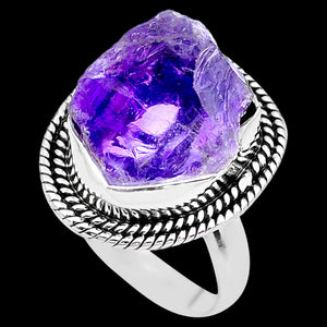 STERLING SILVER 10.2 CARAT ROUGH AMETHYST SURROUND RING