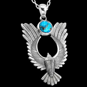 STERLING SILVER 3 CARAT BLUE COPPER TURQUOISE SOLITAIRE PHOENIX NECKLACE