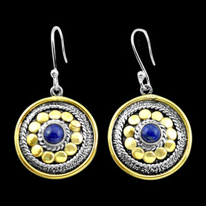 STERLING SILVER 1.9 CARAT LAPIS LAZULI 14K GOLD PLATE CIRCLE EARRINGS
