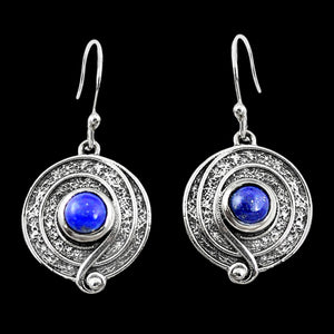 STERLING SILVER 1.9 CARAT LAPIS LAZULI CIRCLE SWIRL DROP EARRINGS