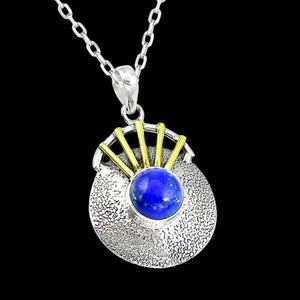 STERLING SILVER 5.5 CARAT LAPIS LAZULI SOLITAIRE SUN 14K GOLD PLATE NECKLACE