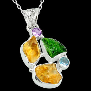 STERLING SILVER 18.4 CARAT ROUGH CITRINE & CHROME DIOPSIDE NECKLACE