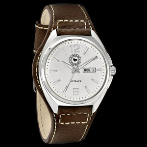 RINGERS WESTERN OUTBACK WHITE DIAL BROWN LEATHER WATCH