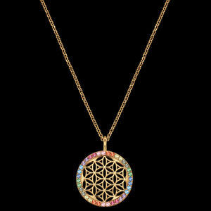 ENGELSRUFER GOLD FLOWER OF LIFE RAINBOW CZ NECKLACE