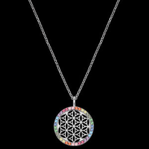 ENGELSRUFER SILVER FLOWER OF LIFE RAINBOW CZ NECKLACE
