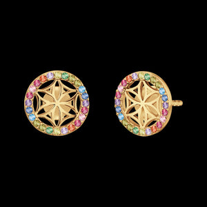 ENGELSRUFER GOLD FLOWER OF LIFE RAINBOW CZ EARRINGS