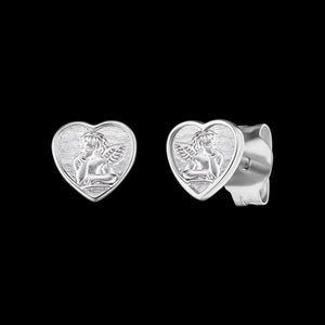 HERZENGEL CHILDREN'S SILVER ANGEL HEART STUD EARRINGS