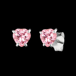 HERZENGEL CHILDREN'S SILVER HEART PINK CZ STUD EARRINGS