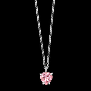 HERZENGEL CHILDREN'S SILVER HEART PINK CZ NECKLACE