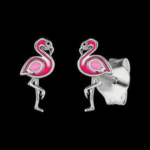 HERZENGEL CHILDREN'S SILVER FLAMINGO ENAMEL EARRINGS