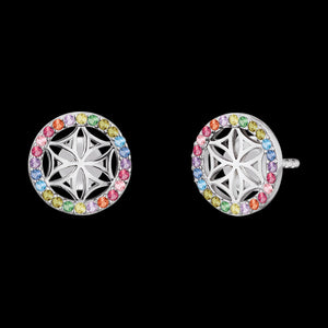 ENGELSRUFER SILVER FLOWER OF LIFE RAINBOW CZ EARRINGS