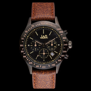 JAG MEN'S BLAKE BLACK DIAL BROWN LEATHER WATCH