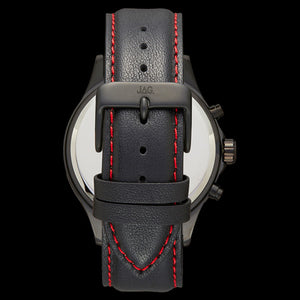 JAG MEN'S BLAKE RED DIAL BLACK LEATHER WATCH - BACK VIEW