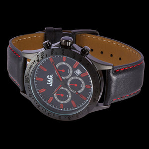 JAG MEN'S BLAKE RED DIAL BLACK LEATHER WATCH - SIDE VIEW