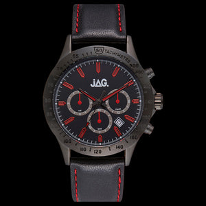 JAG MEN'S BLAKE RED DIAL BLACK LEATHER WATCH