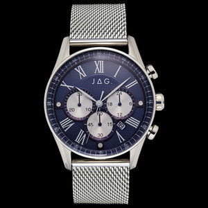 JAG MEN'S LACHLAN BLUE DIAL SILVER MESH WATCH