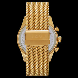 JAG MEN'S LACHLAN BLACK DIAL GOLD MESH WATCH - BACK VIEW