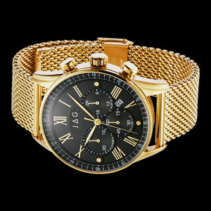 JAG MEN'S LACHLAN BLACK DIAL GOLD MESH WATCH - SIDE VIEW