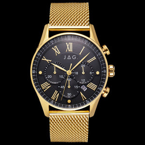JAG MEN'S LACHLAN BLACK DIAL GOLD MESH WATCH