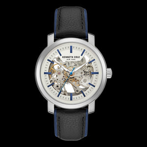 KENNETH COLE BLUE ACCENT SKELETON AUTOMATIC MEN'S WATCH