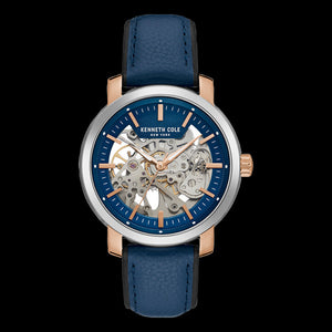 KENNETH COLE BLUE DIAL SKELETON AUTOMATIC MEN'S WATCH