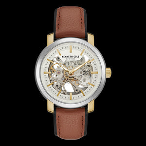 KENNETH COLE GOLD ACCENT SKELETON AUTOMATIC MEN'S WATCH