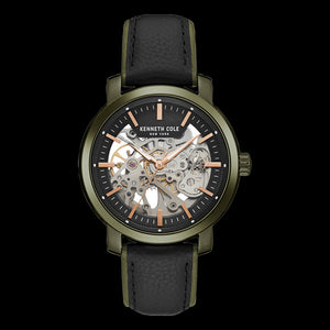 KENNETH COLE GREEN ACCENT SKELETON AUTOMATIC MEN'S WATCH