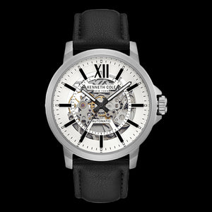 KENNETH COLE BLACK ACCENT SILVER SKELETON AUTOMATIC MEN'S WATCH