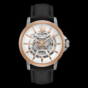 KENNETH COLE ROSE GOLD ACCENT SKELETON AUTOMATIC MEN'S WATCH