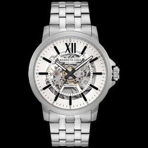 KENNETH COLE BLACK ACCENT SKELETON AUTOMATIC MEN'S LINK WATCH
