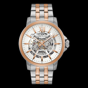 KENNETH COLE ROSE ACCENT SKELETON AUTOMATIC MEN'S LINK WATCH