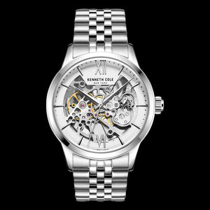 KENNETH COLE SILVER SKELETON AUTOMATIC MEN'S LINK WATCH