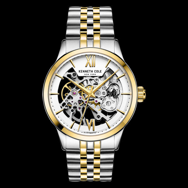 KENNETH COLE GOLD ACCENT SKELETON AUTOMATIC MEN'S LINK WATCH