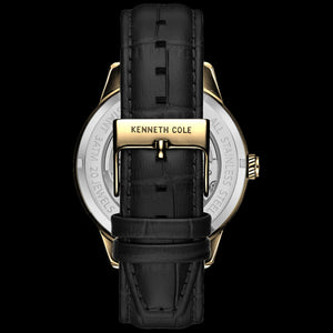 KENNETH COLE GOLD & BLACK SKELETON AUTOMATIC CUTOUT MEN'S WATCH - BACK VIEW