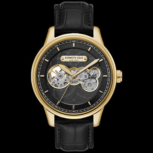 KENNETH COLE GOLD & BLACK SKELETON AUTOMATIC CUTOUT MEN'S WATCH
