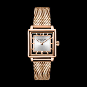 KENNETH COLE ROSE GOLD SQUARE TRANSPARENCY MESH LADIES WATCH