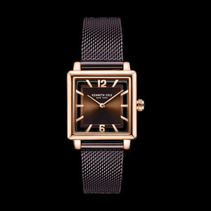 KENNETH COLE COFFEE ROSE GOLD TRANSPARENCY MESH LADIES WATCH