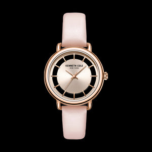 KENNETH COLE ROSE GOLD TRANSPARENCY LADIES PINK LEATHER WATCH