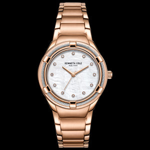 KENNETH COLE ROSE GOLD MOTHER OF PEARL GEM HALO CLASSIC LADIES WATCH