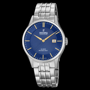FESTINA MEN'S SWISS SAPPHIRE BLUE DIAL LINK WATCH