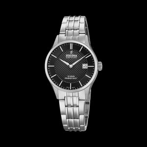 FESTINA LADIES SWISS SAPPHIRE BLACK DIAL LINK WATCH