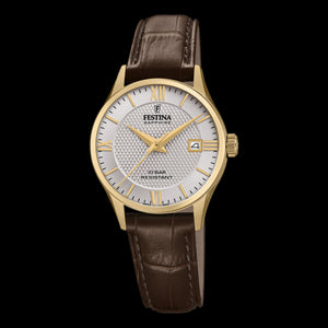 FESTINA LADIES SWISS SAPPHIRE SILVER DIAL GOLD LEATHER WATCH