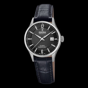 FESTINA LADIES SWISS SAPPHIRE BLACK DIAL LEATHER WATCH