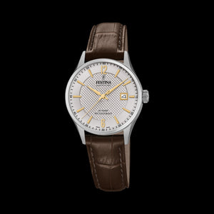 FESTINA LADIES SWISS SAPPHIRE SILVER GOLD DIAL LEATHER WATCH