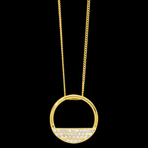 ELLANI STERLING SILVER GOLD 28MM OPEN CIRCLE 4-ROW CZ NECKLACE