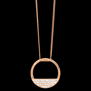 ELLANI STERLING SILVER ROSE GOLD 28MM OPEN CIRCLE 4-ROW CZ NECKLACE
